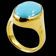 A one of a kind 24K pure gold turquoise ring from Gurhan.
