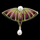 A one of a kind art nouveau inspired pearl pendant. This piece is made from 18k gold, with enamel color. There are 25 round diamonds on the embossed pattern with a total carat weight of 0.27tcw. The size of this piece measures 52mm x 45mm and weighs 15.26 grams