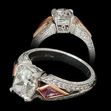 Michael Beaudry Platinum and 18kt rose gold semi mount engagement ring