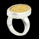 A Silver Gurhan Ring that is great for a man or a woman. From the Galaxy collection that features, graduated shank, drusy quartz yellow. Measures 26mmx18mm.