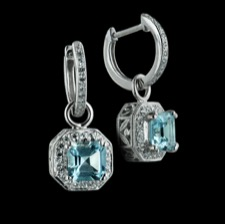 Beverley K 18kt white gold diamond & blue topaz dangle earrings