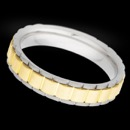 A men's 14k white and yellow gold wedding band from Christian Bauer. The width of the ring is 5mm. This ring can be made in platinum and gold.