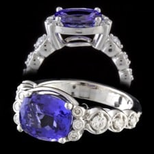 Bridget Durnell Platinum Tanzanite and diamond ring