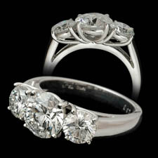 Pearlman's Bridal Platinum three stone diamond engagement ring