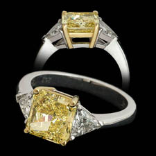 Pearlman's Bridal Platinum 3 stone diamond ring with fancy yellow diamond