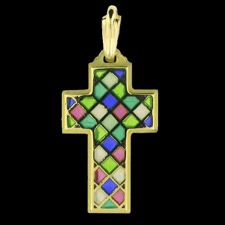 Nouveau Collection multi color gold cross pendant