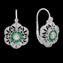 A gorgeous pair of Beverley K earrings. These earrings are made from 18K white gold and feature green emerald and diamond gemstones. The total diamond weight is 0.41cw. and the total emerald weight is 0.72cw.