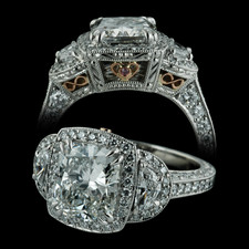 Michael Beaudry Platinum cushion cut ring