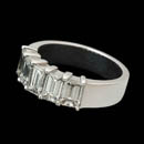 Classic 7mm platinum diamond ring set with 5 emerald cut diamonds weighing 2.03ct. Diamonds are VS G-H plus.