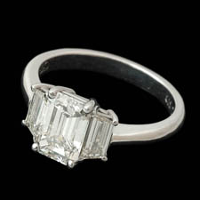 Pearlman's Bridal Platinum three stone emerald cut diamond engagement rin