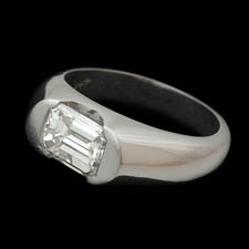 Platinum diamond finger ring set with a 1.44ct emerald cut diamond. Most sizes available.