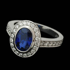 Beautiful platinum sapphire and diamond ring.  This ring is set with a 2.04ct center sapphire and .48ct of diamonds. Most sizes available.