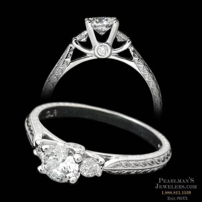 Scott Kay Palladium Engraved Three Sided Diamond Wedding: Scott Kay Jewelry Petite Platinum 3 Stone Engagement Ring