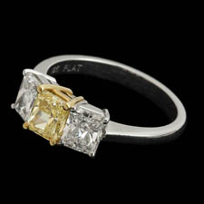 Pearlman's Bridal Three stone diamond ring with fancy canary yellow cente