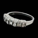 Platinum round and baguette diamond ring set with .80ct of diamonds VS G-H