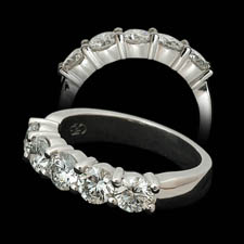 Pearlman's Bridal Platinum five stone diamond wedding band